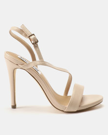 Madison Sandra Diagonal Strappy Heeled Sandals Nude