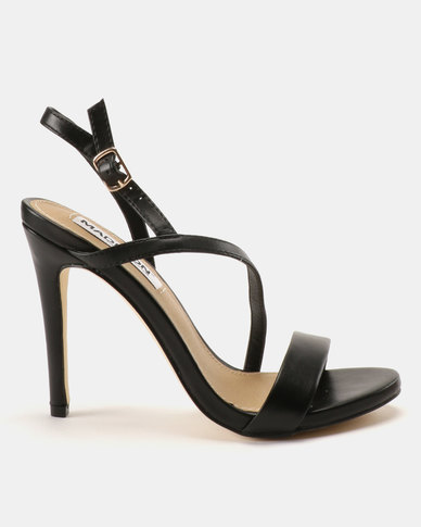 Madison Sandra Diagonal Strappy Heeled Sandals Black