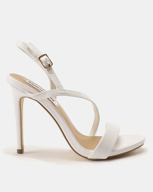 Madison Sandra Diagonal Strappy Heeled Sandals White