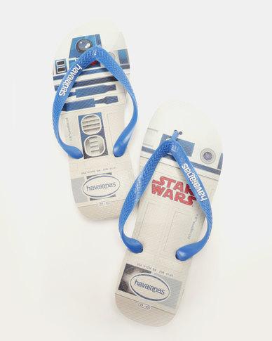 f84dad6cd31cd3 Havaianas Star Wars Flip Flops White Blue Star