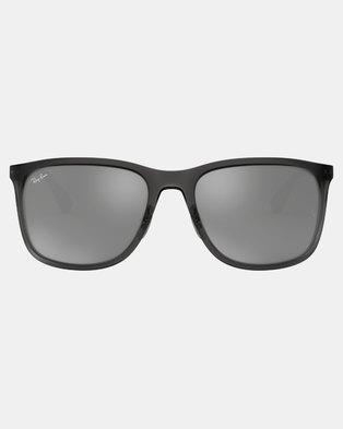 b28df4dcdc08d Ray-Ban Square Framed Sunglasses Matte Transparent Grey