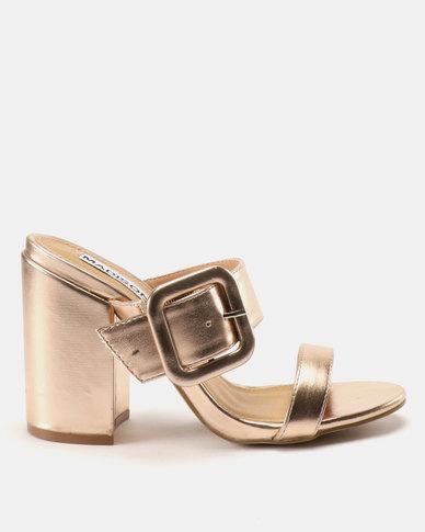 Madison Jaimi Block Heel Mules Rose Gold