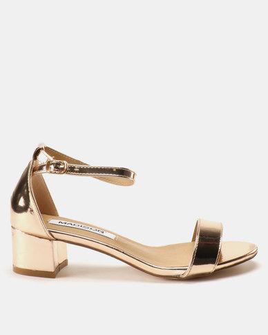 Madison Sydney Clean Block Heel Sandals Rose Gold