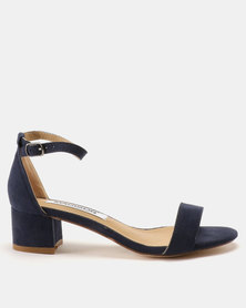 Madison Sydney Clean Block Heel Sandals Navy Suede