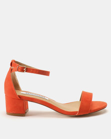 Madison Sydney Clean Block Suede Heel Sandals Burnt Orange