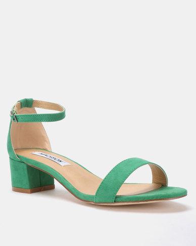 Madison Sydney Clean Block Heel Sandals Green Suede