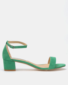 Madison Sydney Clean Block Heel Sandals Green Suede
