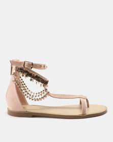 Madison Amanda Bejewelled Flat Sandals Blush