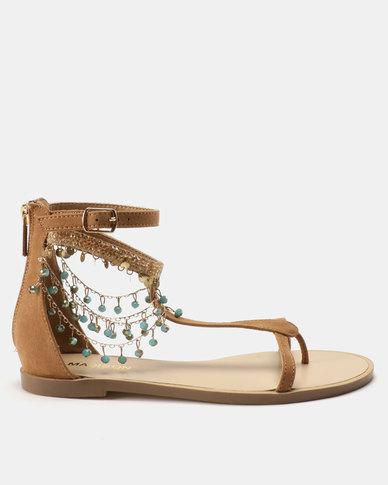 Madison Amanda Bejewelled Flat Sandals Camel