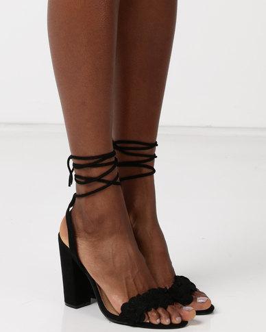 Madison  Naples Flower Trim Heeled Sandals Black
