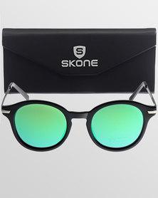 Skone Ballito Round UV400 Sunglasses Green Mirrored