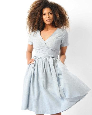 Marique Yssel Cotton Wrap Dress Blue Stripe
