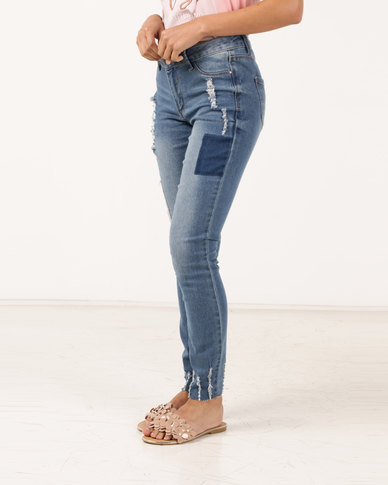 f15e67620ccf Legit Patch Ladder Hem Skinny Jeans Ink