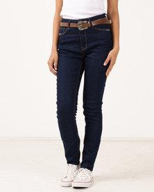 Legit Boho Belted Skinny Jeans Ink