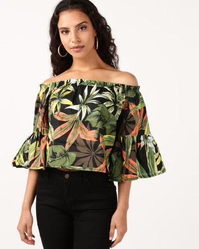 e84c10b384eac Legit Bardot Flare Sleeve Tropical Top Multi