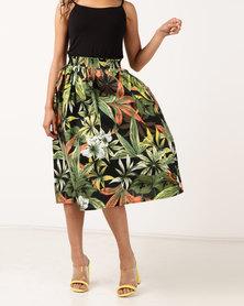 Legit Tropical Printed Flared Midi Skirt Multi
