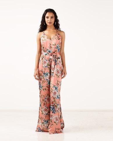 e26055e63afc Legit Strappy Floral Satin Jumpsuit Blush