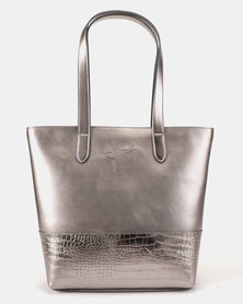 Julz Emily Leather Tote Pewter
