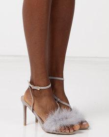 Legit Feather Vamp Strappy Heels Grey