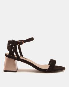 Legit Shaped Metallic Low Block Heels With Strappy Quarter Black