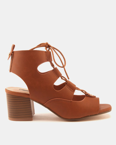 Legit Lace Up Block Heels Tan