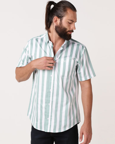 JCrew Bold Vertical Stripe Shirt Green