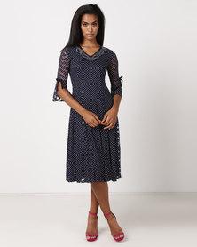 Queenspark Printed Spot Mesh Knit Dress Navy