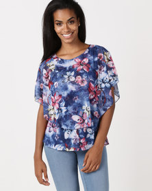 Queenspark Double Layer Knit Top Blue