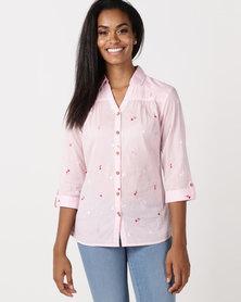 Queenspark Wooden Button Fine Cotton Embroidered Shirt Pink