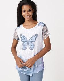 Queenspark Butterfly Contrast Hem Fashion Knit Top Blue