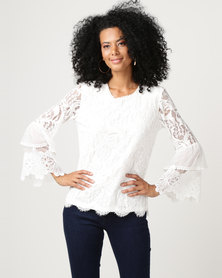 Queenspark Glam Lace Knit Top White