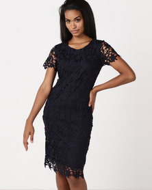 Queenspark Guipure Lace Woven Shift Dress Navy