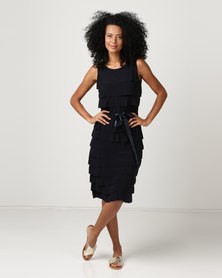cath.nic By Queenspark Ruffle Waist Tie Knit Dress Navy