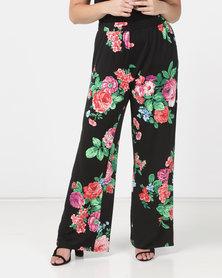 Queenpark Plus Floral Printed Knit Pants Black