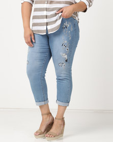 Queenpark Plus Swallow Embroidery Detail Denim Capris Blue