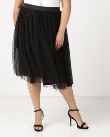 Queenpark Plus Spot Mesh Flared Knit Skirt Black