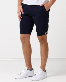 Soviet M Trenton Chino Shorts With Turn Up Navy
