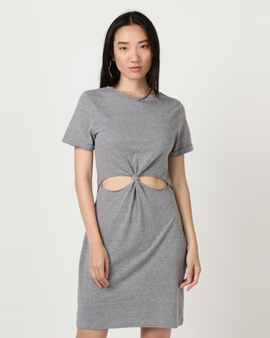 Brave Soul Short Sleeve Dress With Twisted Front Dove Grey