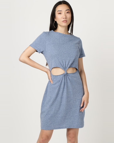 Brave Soul Short Sleeve Dress With Twisted Front Blue