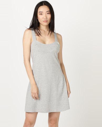 Brave Soul Solid Colour Dress Grey Marle