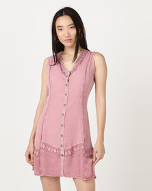 Brave Soul Dyed Dress With Crochet Antique Pink