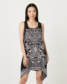 Brave Soul Hanky Hem Dress Black/Mushroom
