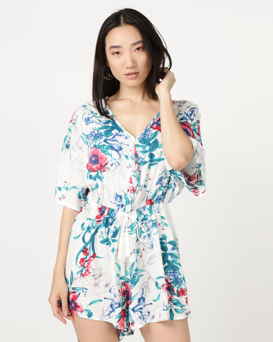 Brave Soul All Over Printed Playsuit Ecru/Turquoise