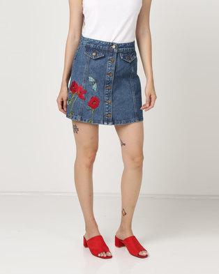 Brave Soul Button Through Denim Skirt With Poppy Detail Blue