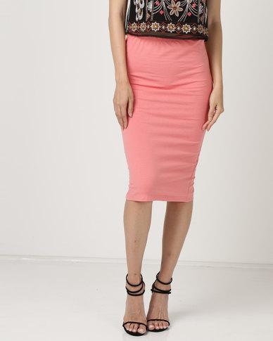 Brave Soul Plain Pencil Skirt Coral