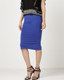 Brave Soul Plain Pencil Skirt Deep Royal