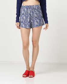 Brave Soul Floral Shorts Royal