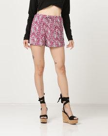 Brave Soul Floral Shorts Pink