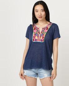 Brave Soul Linen Look T-Shirt Embroidered Bib Denim Blue