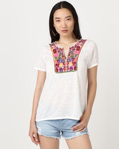 Brave Soul Linen Look T-Shirt Embroidered Bib Cream
